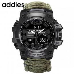 Addies zegarek wojskowy z kompasem mężczyźni mają wodoodporny gwizdek Alarm stoper zegar Sport cyfrowy nadgarstek zegarek montre