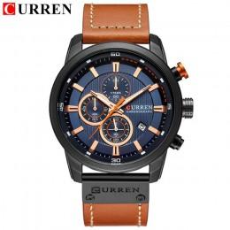 Nowe zegarki mężczyźni luksusowa marka CURREN Chronograph mężczyźni Sport zegarki wysokiej jakości skórzany pasek kwarcowy zegar