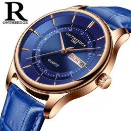 Wysokiej jakości tarcza z różowego złota zegarek męski skórzany wodoodporny 30M zegarki moda biznesowa japonia mechanizm kwarcow