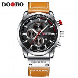 DOOBO nowy top marka luksusowa moda pasek skórzany na co dzień mężczyźni zegarki kwarcowe data mężczyzna zegarki na rękę zegar M