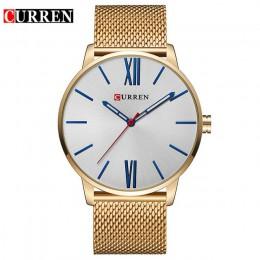 Curren męskie zegarki Top marka luksusowy złoty kwarc mężczyźni zegarek Drop Shipping siateczkowy pasek Casual Sport męski Relog
