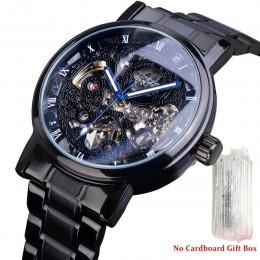 Forsining różowe złota koperta BlueSteel 3 Dial wielofunkcyjne męskie biznes Sport automatyczny mechaniczny zegarek na rękę Top