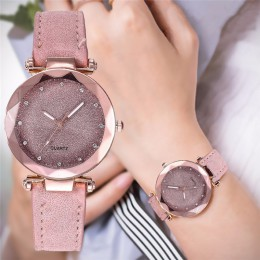 Casual kobiety romantyczny gwiaździste niebo zegarek na rękę skóra Rhinestone projektant panie zegar prosta sukienka Gfit Montre