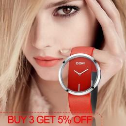 Zegarek DOM kobiety luksusowa moda na co dzień 30 m wodoodporne zegarki kwarcowe pasek ze skóry naturalnej sport panie elegancki