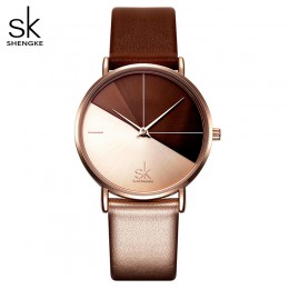 Shengke zegarki damskie moda skórzany zegarek na rękę Vintage Ladies Watch nieregularny zegar Mujer seks Kol Saati Montre Femini