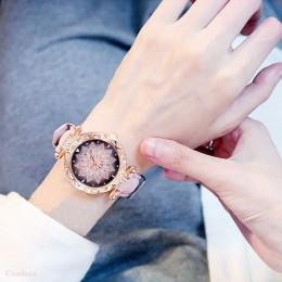Luksusowe zegarki damskie zestaw bransoletek Starry Sky bransoletka damska zegarek Casual skórzany zegarek kwarcowy zegarek zega