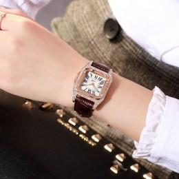 Damski diamentowy zegarek starry luksusowa bransoletka zestaw zegarki damskie Casual skórzany pasek kwarcowy zegarek damski zega