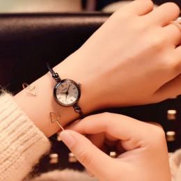 Mały złoty bransoletka zegarki luksusowe ze stali nierdzewnej Retro panie zegarki kwarcowe moda Casual kobiety sukienka zegarek