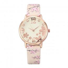 Dziewczyna luksusowy zegarek kobiety nowe mody wytłoczone kwiaty małe świeże drukowane pas tarcza do zegarka kobiet zegarek kwar