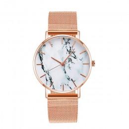 Moda siatka z różowego złota zespół kreatywny marmurowy zegarek damski luksusowe kobiety zegarki kwarcowe prezenty Relogio Femin