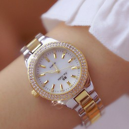 2020 panie zegarki sukienka złoty zegarek kobiety kryształowy diament zegarki ze stali nierdzewnej srebrny zegar kobiety Montre