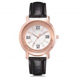 Nowe damskie zegarki Rhinestone skórzana bransoletka zegarek damskie modne zegarki damskie Alloy analogowe kwarcowe relojes @ F