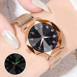 Zegarki damskie 2019 marka luksusowa bransoletka kwarcowy pasek ze stali nierdzewnej klamra magnetyczna Starry Sky Wrist Watch s