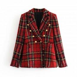 Tweed kobiety w czerwoną kratę blazers 2019 moda zima kobiety kurtki vintage damskie, patchworkowe blazer płaszcze dziewczyny ch