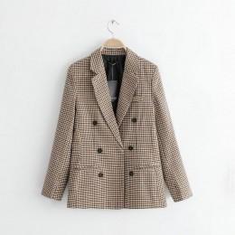 Tangada kobiety w stylu vintage plaid blazer kobiet z długim rękawem elegancka kurtka damska odzież do pracy blazer oficjalne ga