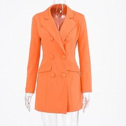 Hugcitar 2019 z długim rękawem szczupła marynarka sukienka jesień zima kobiety moda czysta orange streetwear stroje osłona przed