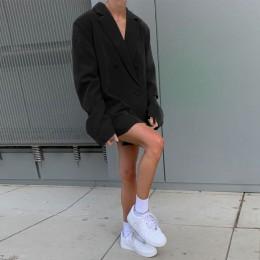 Chicology dwurzędowy marynarka bluza z długim rękawem kobiety luźny płaszcz 2019 jesienno-zimowa damska streetwear ponad rozmiar