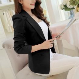 Białe czarne różowe damskie marynarki Plus rozmiar pracy wiosna jesień zapinany na jeden guzik Blaser kobieta elegancka marynark