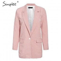 Simplee pink plaid women blazer kieszenie zapinany na jeden guzik z długim rękawem damskie płaszcze casualowe biurowa, damska od