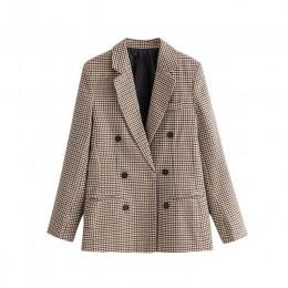 Vintage Double Breasted Plaid OL Blazers płaszcz kobiety 2020 moda z długim rękawem biurowa, damska odzież wierzchnia Casual odz