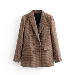 Tangada kobiety kij zimowy dwurzędowy garnitur kurtka biurowa, damska vintage plaid blazer kieszenie bluzki do pracy 3H155