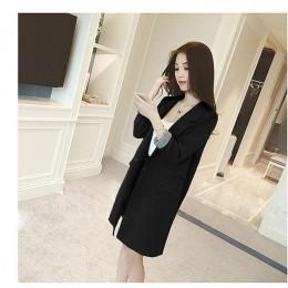 Jednoprzyciskowy długi blezer Jacket Women 2019 wiosna jesień przylegająca elegancka kurtka biurowa, damska odzież wierzchnia pł