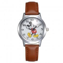 Oryginalny Disney nastolatek skórzany kwarcowy dzieci modne zegarki dzieci Mickey Mouse zegarek studencki chłopiec najlepszy pre