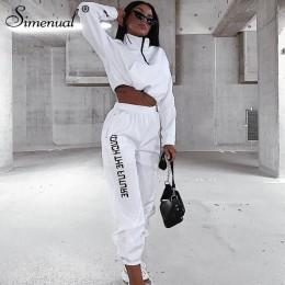 Simenual list drukuj Casual Workout dwuczęściowy zestaw kobiety moda Zipper odzież z długim rękawem sportowa odzież sportowa top