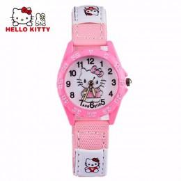 Hello Kitty zegarek dla dzieci Cute Cartoon wzór dziewczyny dzieci oglądaj różowa róża czerwony mały zegar wybierania dziewczyny