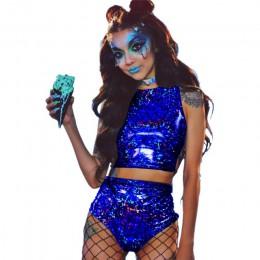 Festiwal królowa holograficzny krótki top i gorące spodenki kobiety 2 sztuka zestawy Sexy Lace Up festiwal Party Rave odzież dwu