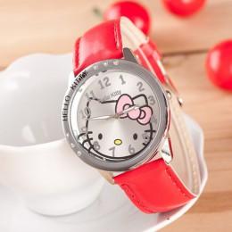 Hello Kitty Fahion zegarki dziewczyny dzieci Cartoon śliczny zegarek kwarcowy wiele kolorów skórzane zegarki dla dzieci Mujer Re