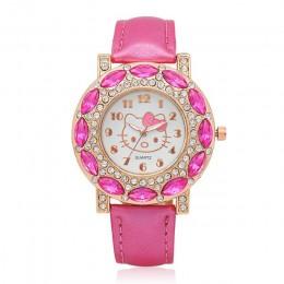 Hello Kitty zegarki dla dzieci dzieci śliczne Hello Kitty skórzane zegarki kwarcowe dla dziewczyn zegar