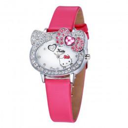 Hello kitty kobiety skórzany zegarek dla dziewczynek dzieci Student Infantil skórzany zegarek z paskiem Relogio bajkowy zegarek
