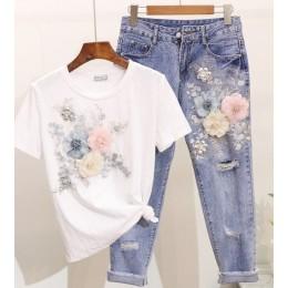 Amolapha damskie ciężkie hafty 3D kwiatowe koszulki + dżinsy 2 szt. Zestawy odzieżowe letnie garnitury casualowe