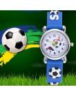 Nowy stylowy Cartoon piłka nożna dzieci zegarki silikonowy pasek analogowy zegarek kwarcowy dla chłopców studentów Hot Montre En