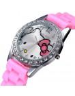 2019 Hello Kitty kobiety oglądaj Cute Cartoon Enfant Ceasuri Kid zegarek kwarcowy Hodinky Relogio silikonowy kot dziewczyna kobi