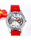 2019 Rhinestone zegarek dla dzieci Cute Cartoon Enfant Ceasuri Kid zegarek kwarcowy Hodinky Relogio silikonowy kot dziewczyna ko