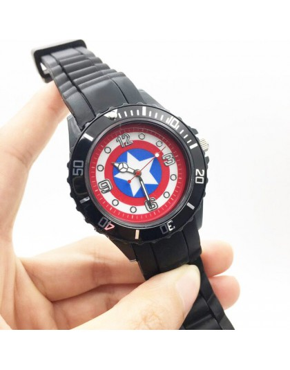 Captain America Cartoon zegarki dla dzieci chłopiec zegarek kwarcowy na rękę czarny pasek pu zegarek męski zegar sportowy Fashio