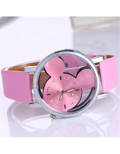 Mickey Mouse zegarki z dwustronnym pustym zegarkiem dla dzieci dla studentów chłopców dziewczyna Cartoon Disney animowany obraz