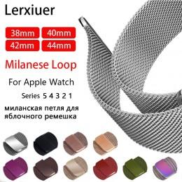 Pasek pleciony z siateczki metalowej milanese do zegarka Apple series 5 4 pasek 44mm 40mm iwatch 3 2 1 42mm 38mm bransoleta ze s
