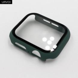 URVOI Full cover do zegarka Apple series 5 4 3 2 matowy odbojnik plastikowy mocna konstrukcja etui ze szklaną folią do ochraniac