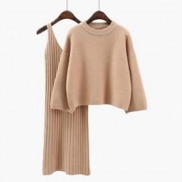 2018 jesień Womans sweter + Straped zestawy sukienek Solid Color kobieta Casual dwuczęściowe garnitury luźny sweter dzianina Min