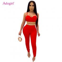 Adogirl diamenty moda Sexy dwuczęściowy zestaw kobiet klub nocny garnitur paski spaghetti krótki top ołówek spodnie kobiece obci
