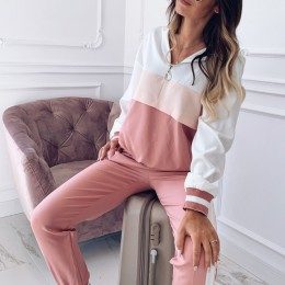 Conjunto dres kobiety wiosna salon nosić Jogging Femme dwuczęściowa piżama spodnie i góra zestaw Chandal Moda Mujer Deportivo Pl