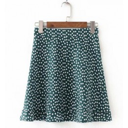 Toppies kobiety kropki spódnica zielona biała Saia wysoka talia Faldas krótka spódniczka 2020 lato