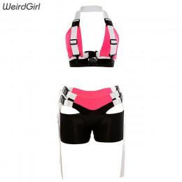 Weirdgirl zestawy dla kobiet dwa kawałki bez rękawów drążą jednolita, krótka Fitness przycięte Sling Tank topy i szorty dla Sexy