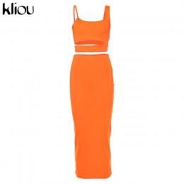 Kliou kobiet jednolity kolor bez ramiączek hollow out crop top wysokiej talii elastyczne skinny długie spódnice dwa kawałki zest