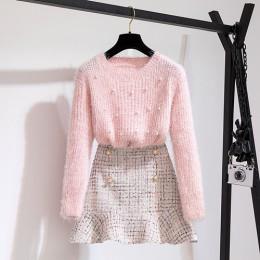 Nowa jesienno-zimowa dwuczęściowy zestaw dres damski elegancki frezowanie sweter z dzianiny + wysokiej talii Tweed spódnica syre