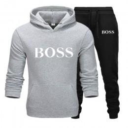 Zima mężczyźni kobiety Unisex 2 sztuka zestaw spodnie z kapturem drukuj odzież sportowa sweter bluza spodnie dwuczęściowy zestaw