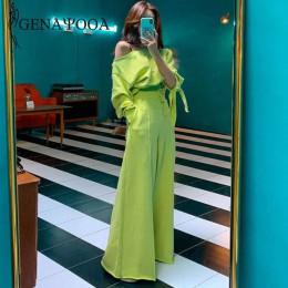 Genayooa dres kobiety casual wiosenna 2 sztuka garnitur kobiet koreański styl dwa sztuka zestaw topy i spodnie Off ramię topy ga